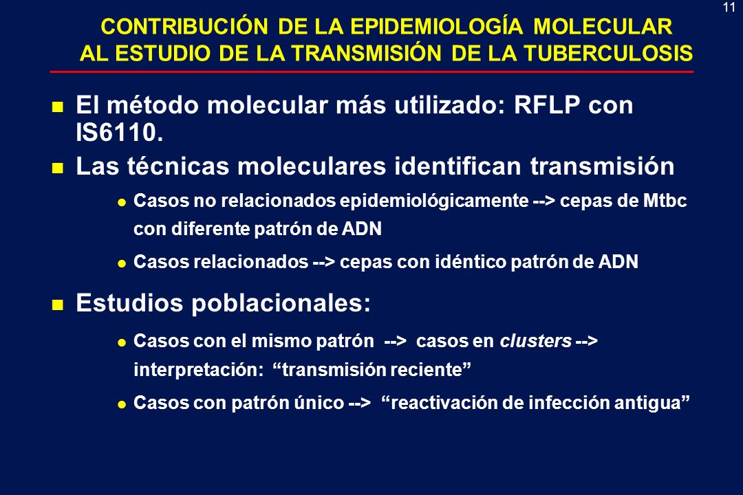 11 CONTRIBUCIÓN DE LA EPIDEMIOLOGÍA MOLECULAR AL ESTUDIO DE LA TRANSMISIÓN DE LA TUBERCULOSIS n El método molecular más utilizado: RFLP con IS6110. n