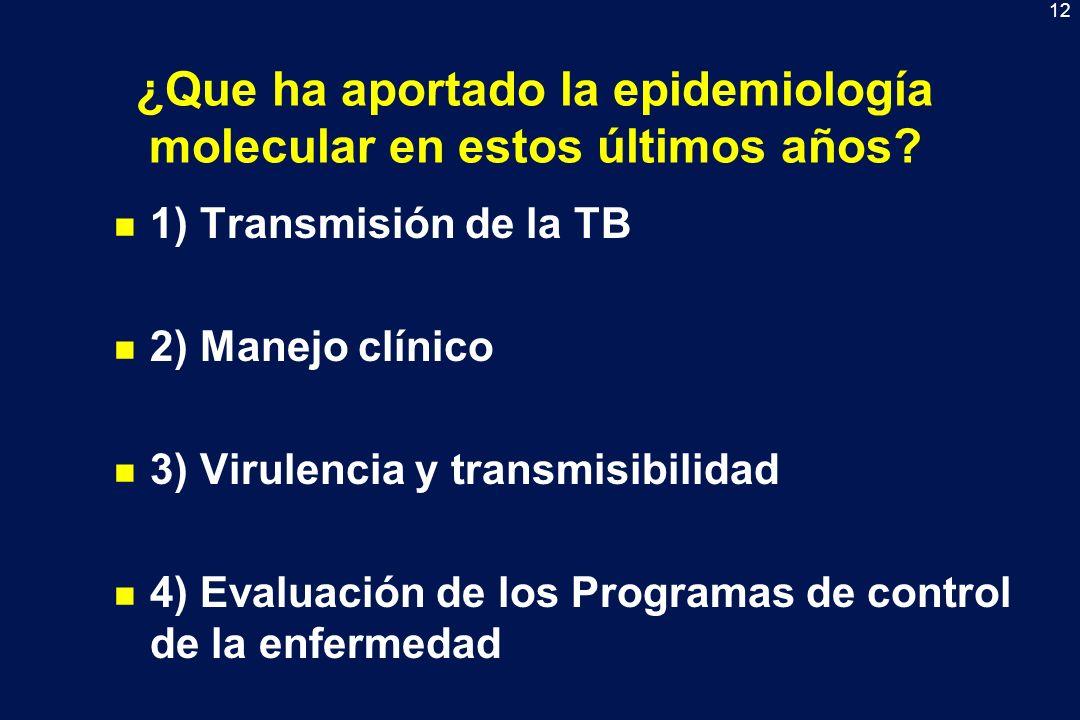 12 ¿Que ha aportado la epidemiología molecular en estos últimos años? n 1) Transmisión de la TB n 2) Manejo clínico n 3) Virulencia y transmisibilidad