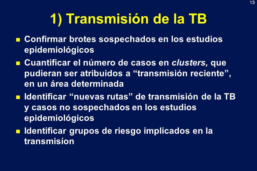 13 1) Transmisión de la TB n Confirmar brotes sospechados en los estudios epidemiológicos n Cuantificar el número de casos en clusters, que pudieran s