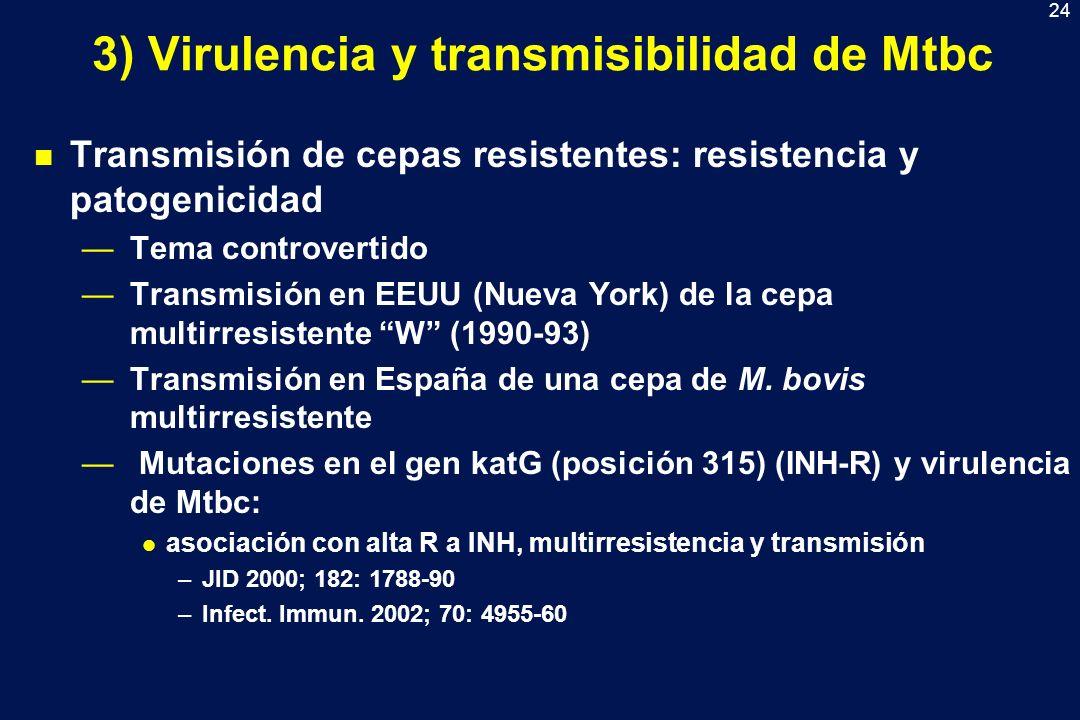 24 3) Virulencia y transmisibilidad de Mtbc n Transmisión de cepas resistentes: resistencia y patogenicidad Tema controvertido Transmisión en EEUU (Nu