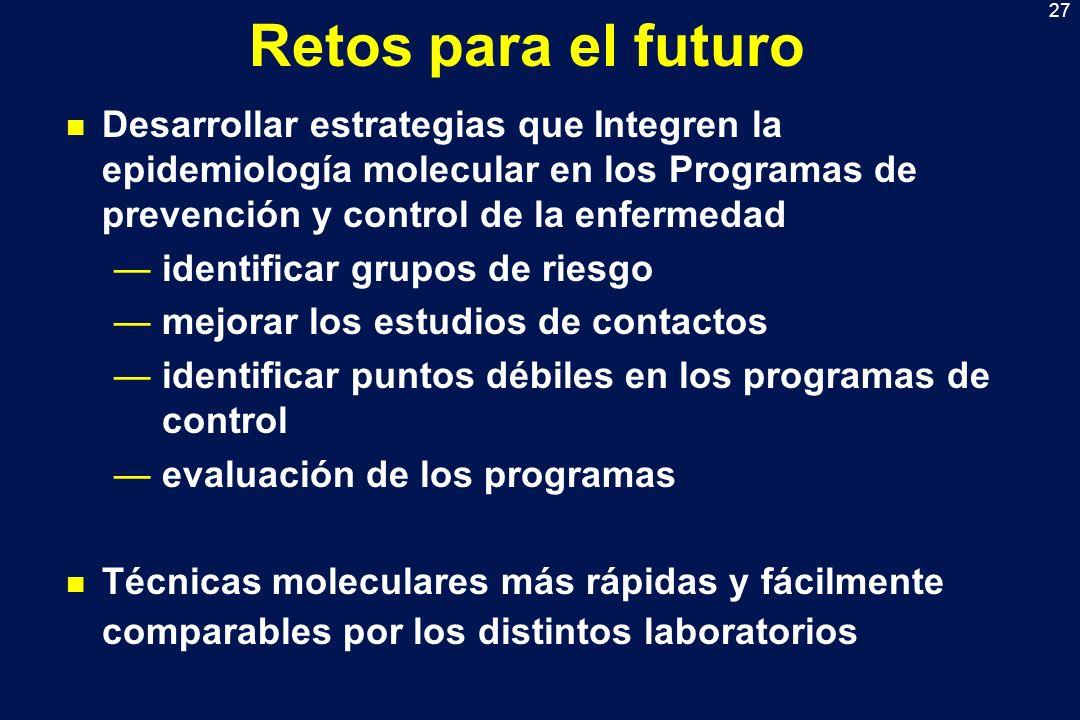 27 Retos para el futuro n Desarrollar estrategias que Integren la epidemiología molecular en los Programas de prevención y control de la enfermedad id