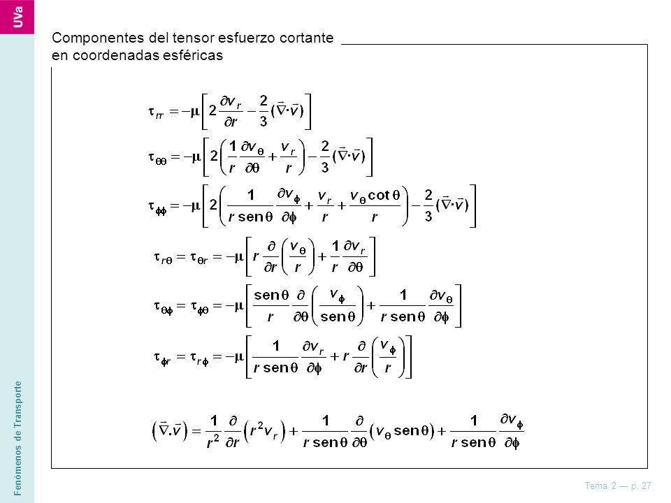 Fenómenos de Transporte Tema 2 p. 27 Componentes del tensor esfuerzo cortante en coordenadas esféricas CUESTIÓN Realizar el análisis de velocidad en l