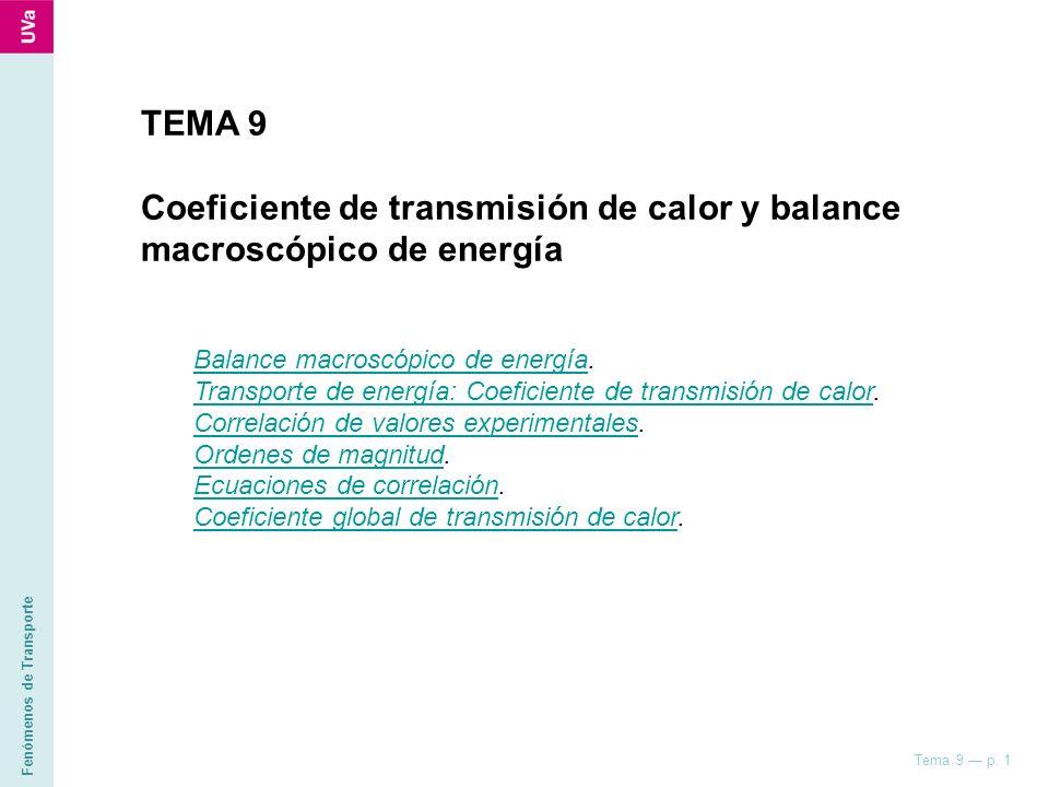 Fenómenos de Transporte Tema 9 p. 1 TEMA 9 Coeficiente de transmisión de calor y balance macroscópico de energía Balance macroscópico de energíaBalanc