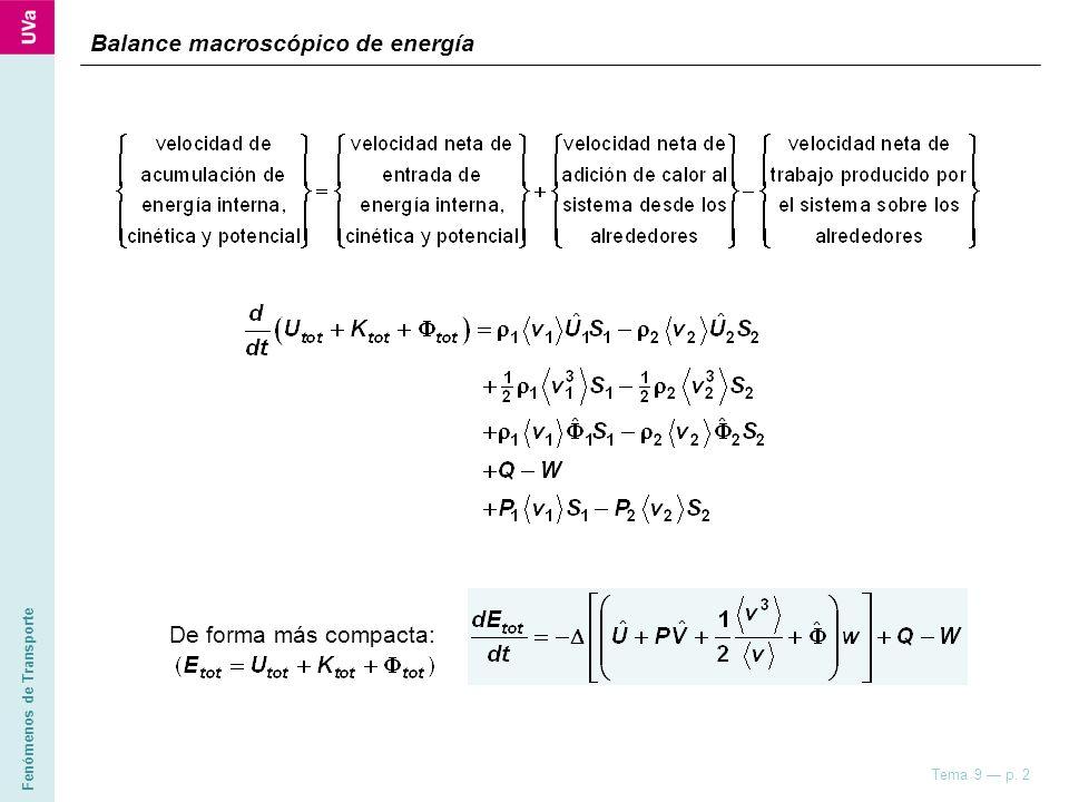 Fenómenos de Transporte Tema 9 p. 2 Balance macroscópico de energía De forma más compacta: