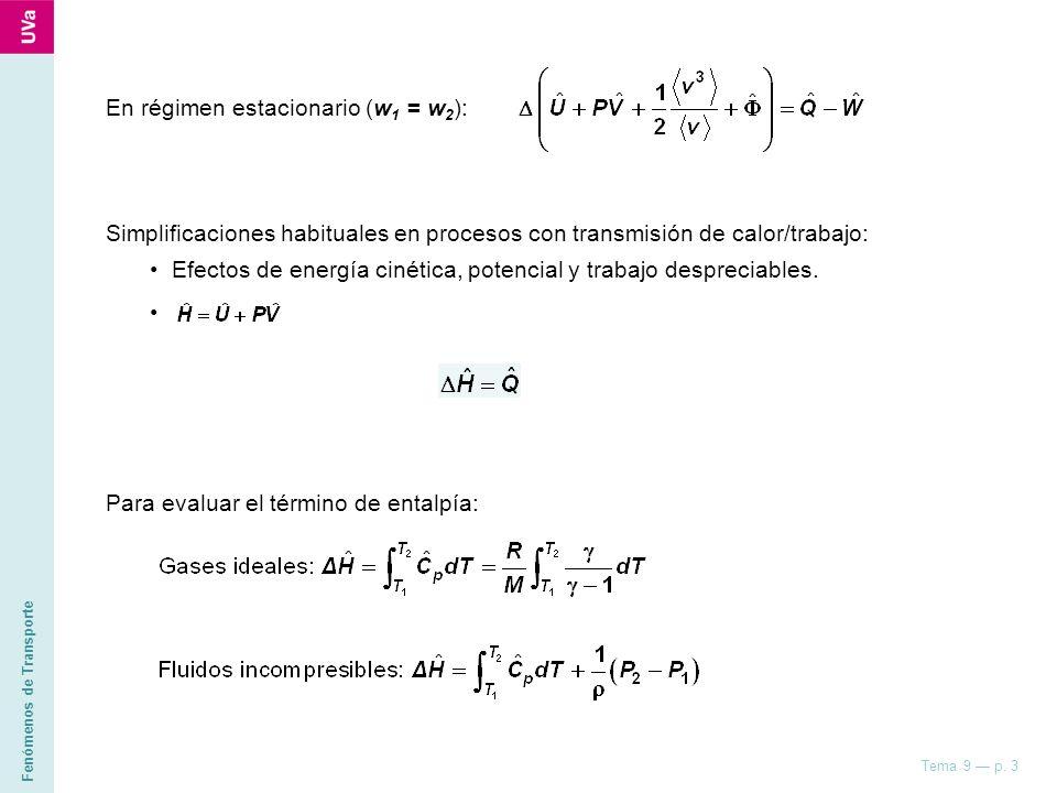 Fenómenos de Transporte Tema 9 p. 3 En régimen estacionario (w 1 = w 2 ): Simplificaciones habituales en procesos con transmisión de calor/trabajo: Ef