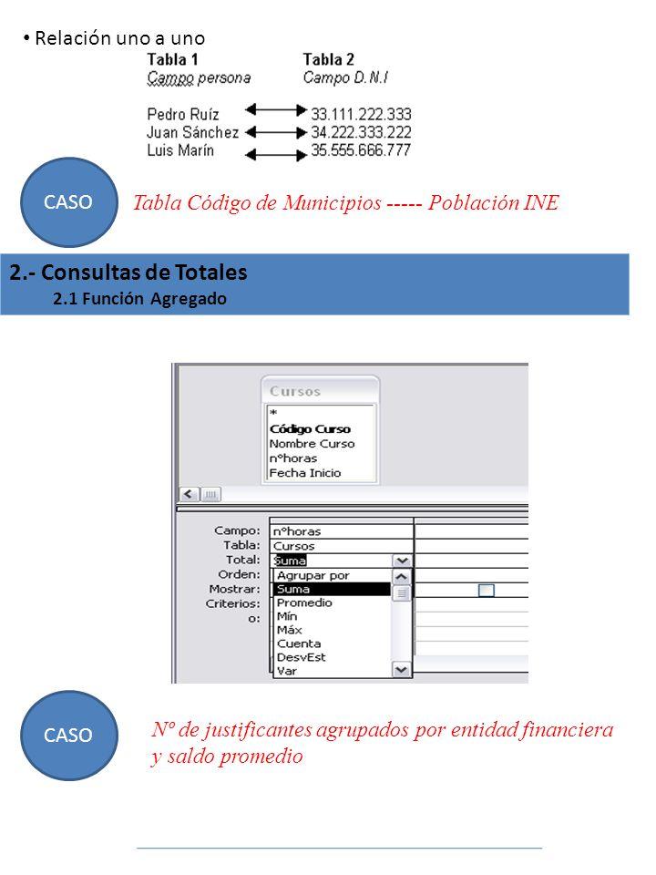 Relación uno a uno CASO Tabla Código de Municipios ----- Población INE 2.- Consultas de Totales 2.1 Función Agregado CASO Nº de justificantes agrupado