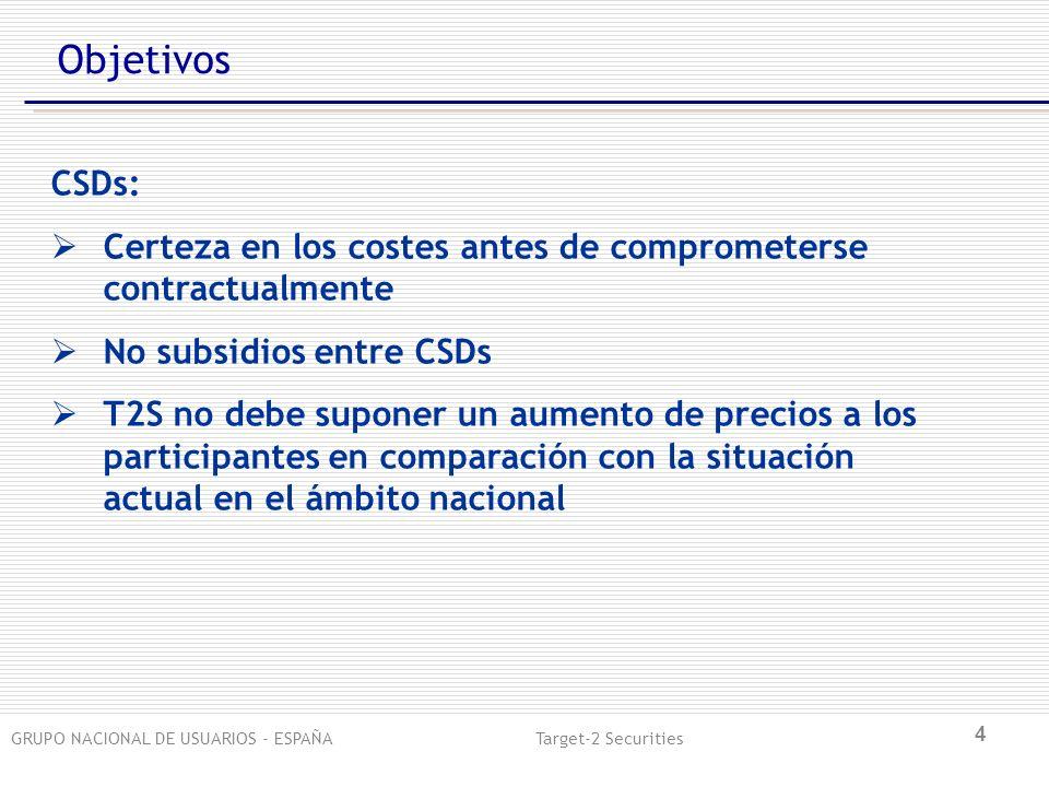 GRUPO NACIONAL DE USUARIOS - ESPAÑA Target-2 Securities 4 Objetivos CSDs: Certeza en los costes antes de comprometerse contractualmente No subsidios entre CSDs T2S no debe suponer un aumento de precios a los participantes en comparación con la situación actual en el ámbito nacional