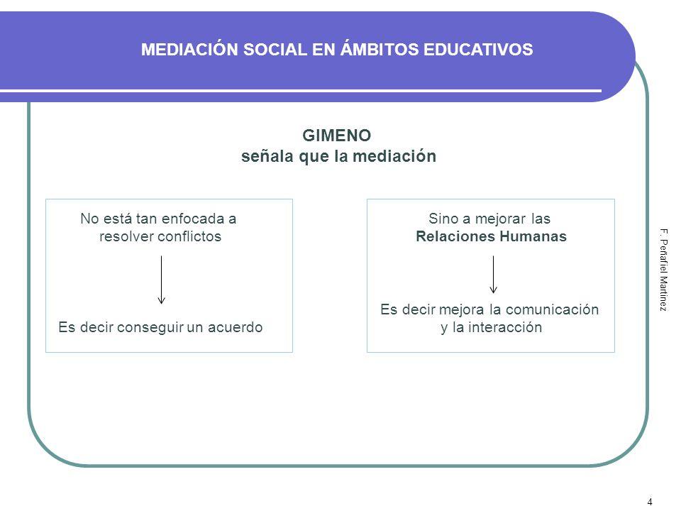 4 MEDIACIÓN SOCIAL EN ÁMBITOS EDUCATIVOS F. Peñafiel Martinez GIMENO señala que la mediación No está tan enfocada a resolver conflictos Es decir conse