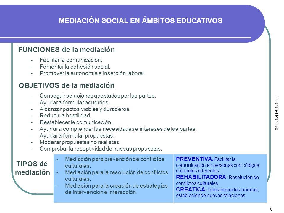 6 MEDIACIÓN SOCIAL EN ÁMBITOS EDUCATIVOS F. Peñafiel Martinez FUNCIONES de la mediación -Facilitar la comunicación. -Fomentar la cohesión social. -Pro