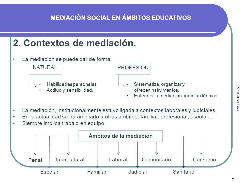 7 MEDIACIÓN SOCIAL EN ÁMBITOS EDUCATIVOS F. Peñafiel Martinez 2. Contextos de mediación. La mediación se puede dar de forma: NATURAL PROFESIÓN Habilid