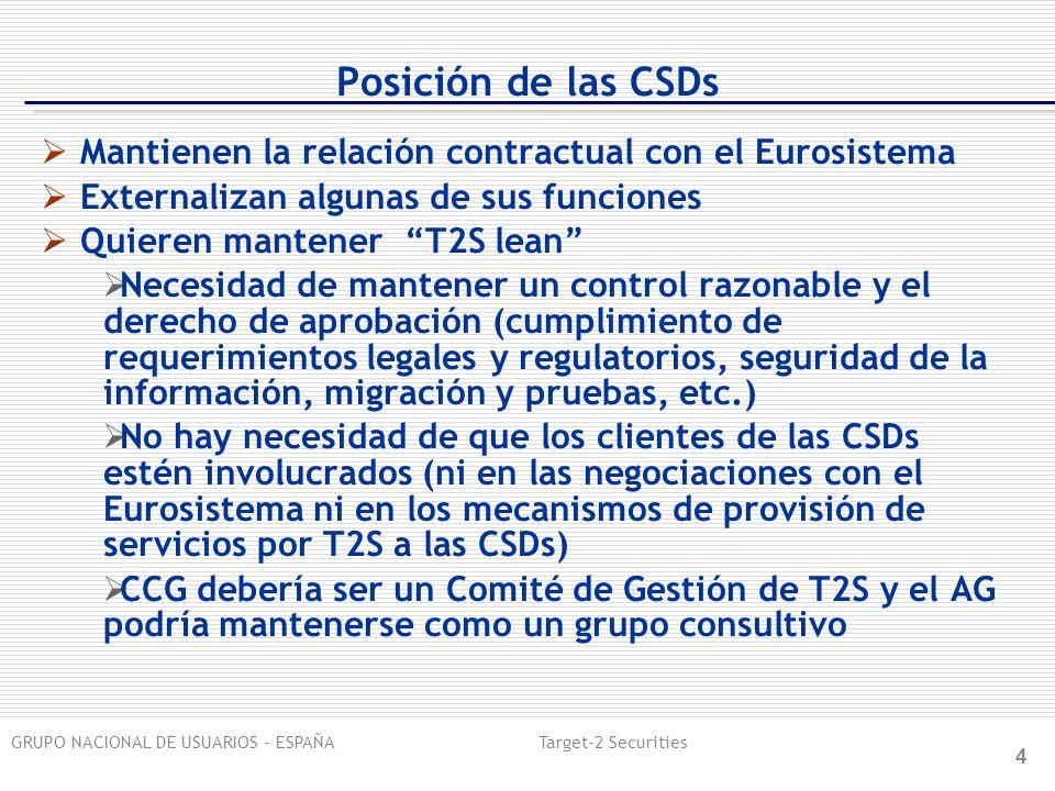 GRUPO NACIONAL DE USUARIOS - ESPAÑA Target-2 Securities 4 Posición de las CSDs Mantienen la relación contractual con el Eurosistema Externalizan algun