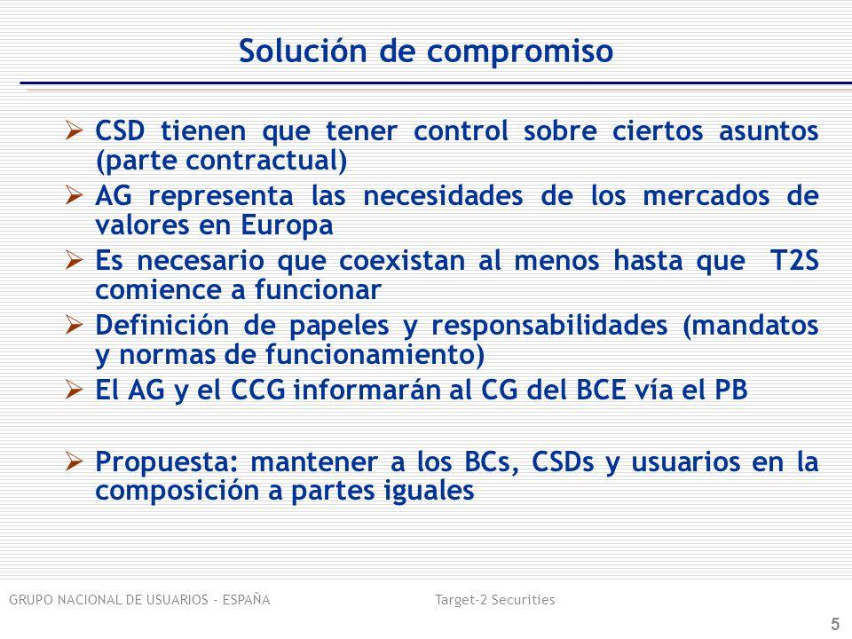 GRUPO NACIONAL DE USUARIOS - ESPAÑA Target-2 Securities 6 Solución de compromiso Hasta la firma del Acuerdo Marco (Eurosistema-CSDs) AG continua involucrado en los aspectos funcionales (migración y pruebas, información sobre los cambios en el URD y en los servicios de T2S antes de que el CG del BCE decida) Mantiene los asuntos de estrategia general (gobierno, precios, etc) y los temas de armonización en general Subestructuras buscando la eficiencia y efectividad en línea con las responsabilidades Después de la firma del Acuerdo Marco (Eurosistema-CSDs) El CCG será responsable de los asuntos recogidos en el Acuerdo Marco, con un apropiado nivel de transparencia hacia el AG Subestructuras buscando la eficiencia y efectividad en línea con las responsabilidades