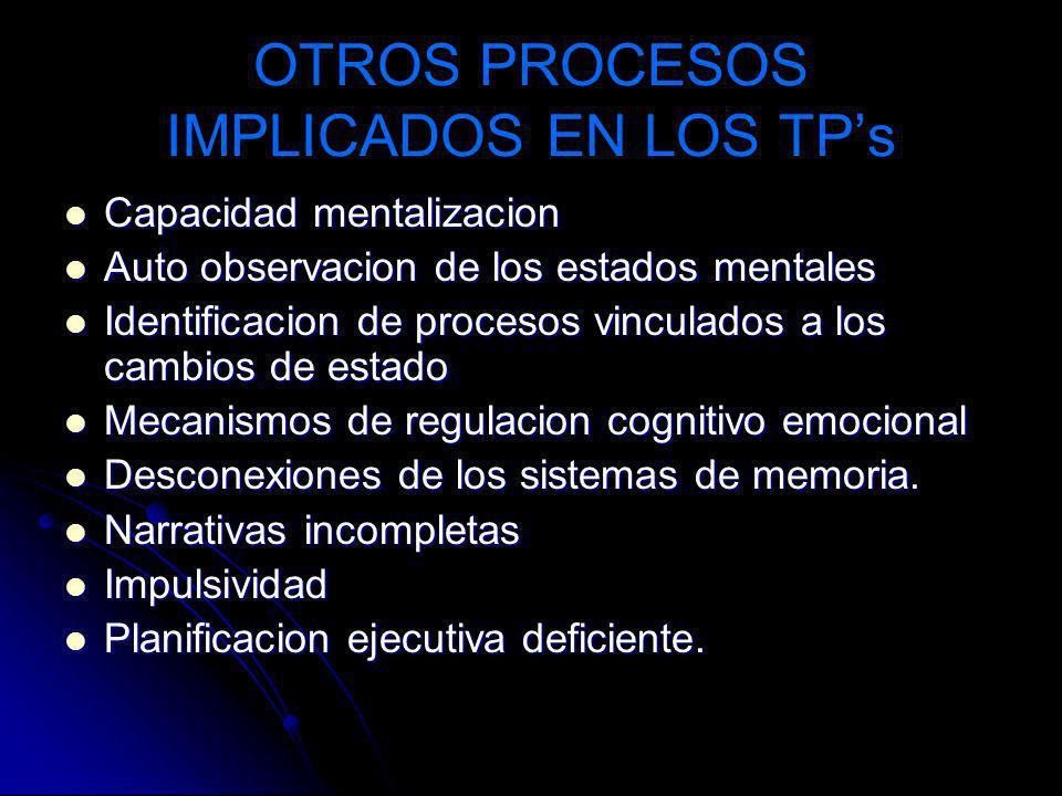 OTROS PROCESOS IMPLICADOS EN LOS TPs Capacidad mentalizacion Capacidad mentalizacion Auto observacion de los estados mentales Auto observacion de los