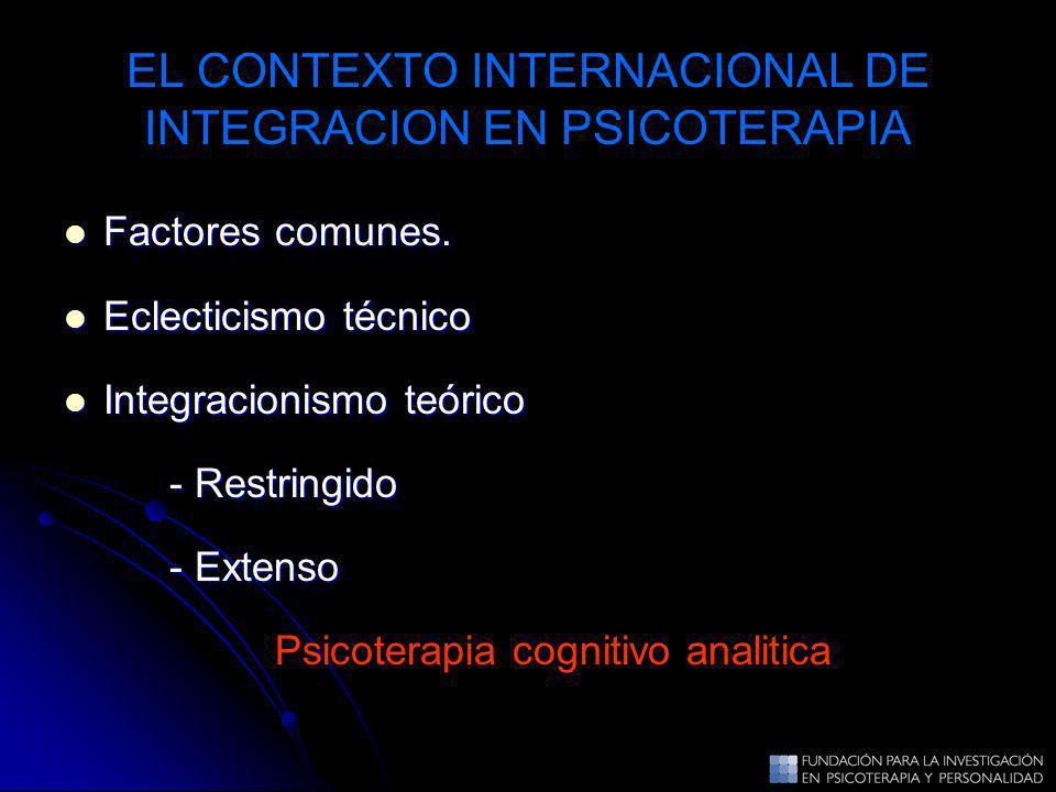 EL CONTEXTO INTERNACIONAL DE INTEGRACION EN PSICOTERAPIA Factores comunes. Factores comunes. Eclecticismo técnico Eclecticismo técnico Integracionismo