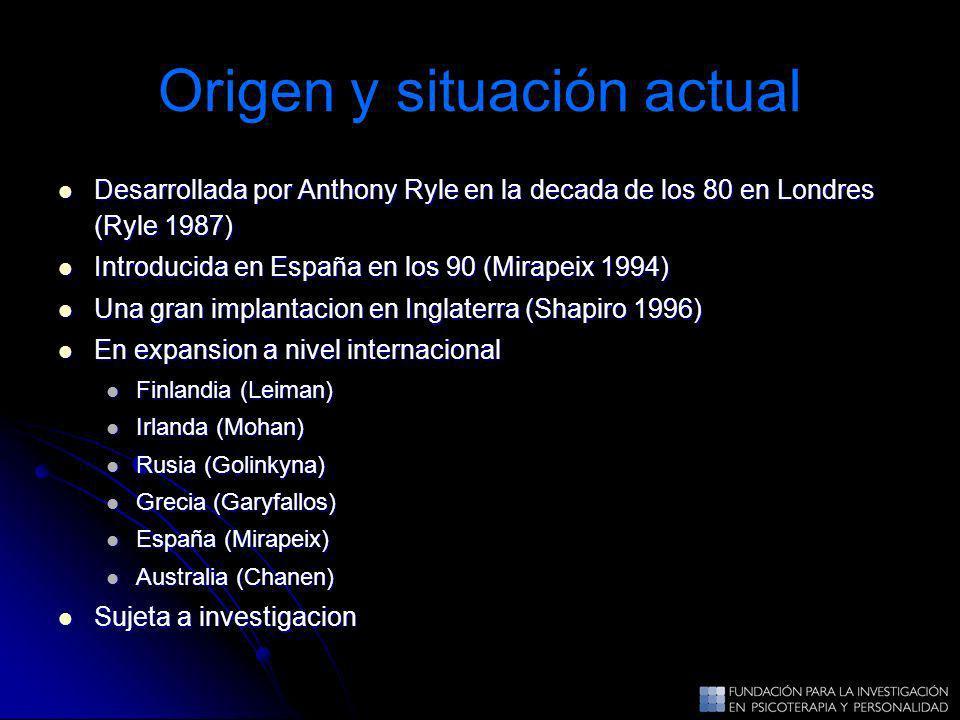 Origen y situación actual Desarrollada por Anthony Ryle en la decada de los 80 en Londres (Ryle 1987) Desarrollada por Anthony Ryle en la decada de lo