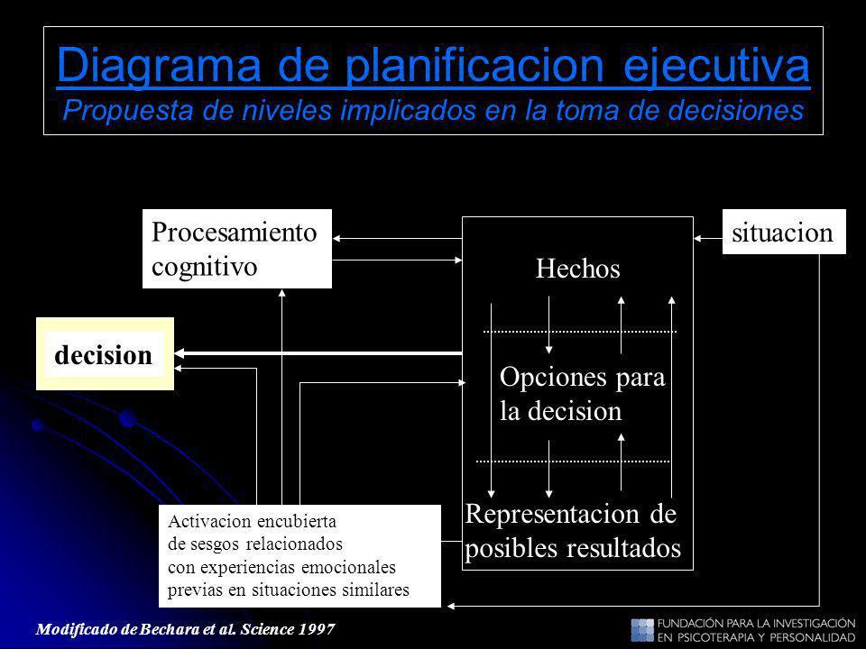 Diagrama de planificacion ejecutiva Propuesta de niveles implicados en la toma de decisiones Hechos Opciones para la decision Representacion de posibl