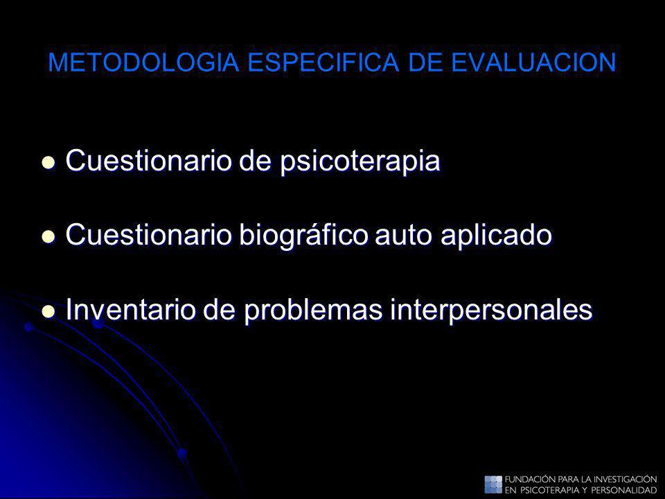 METODOLOGIA ESPECIFICA DE EVALUACION Cuestionario de psicoterapia Cuestionario de psicoterapia Cuestionario biográfico auto aplicado Cuestionario biog