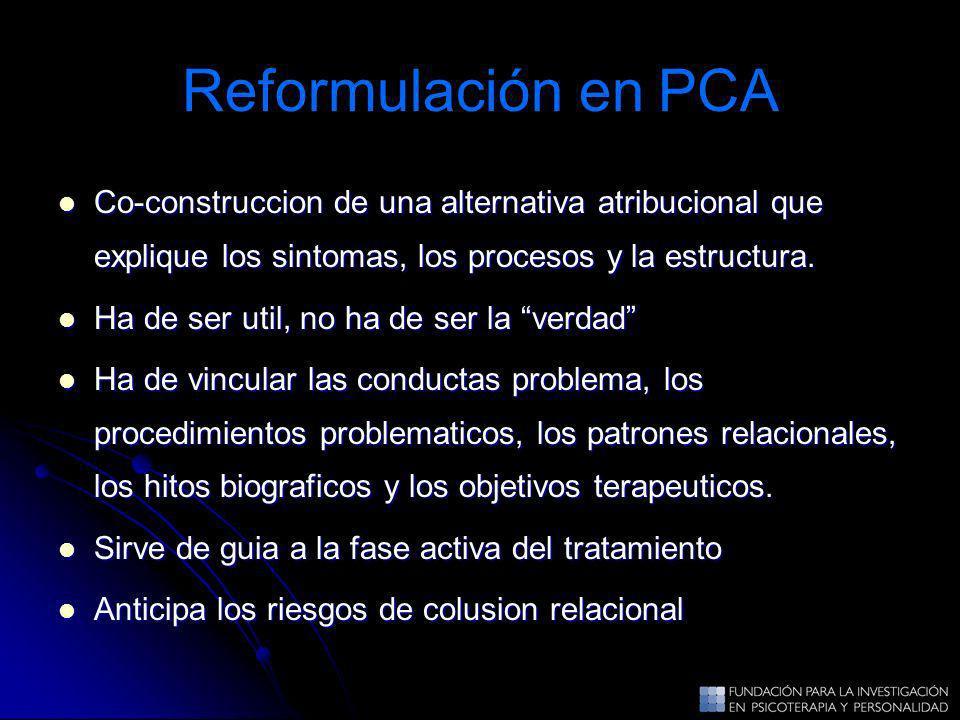 Reformulación en PCA Co-construccion de una alternativa atribucional que explique los sintomas, los procesos y la estructura. Co-construccion de una a