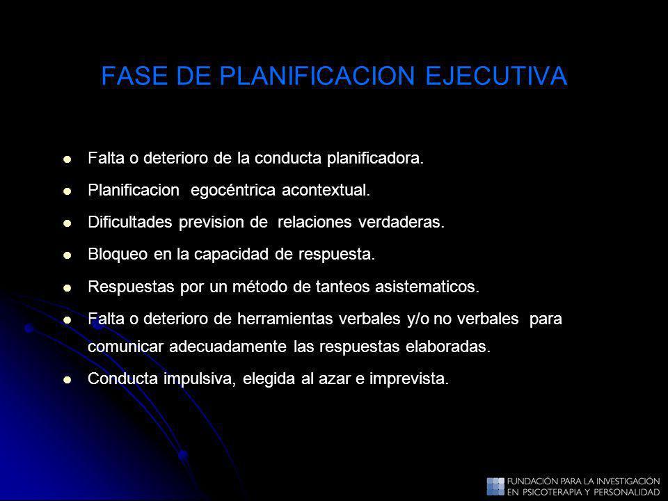 FASE DE PLANIFICACION EJECUTIVA Falta o deterioro de la conducta planificadora. Planificacion egocéntrica acontextual. Dificultades prevision de relac