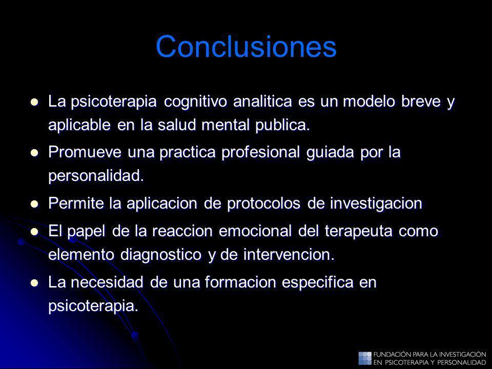 Conclusiones La psicoterapia cognitivo analitica es un modelo breve y aplicable en la salud mental publica. La psicoterapia cognitivo analitica es un