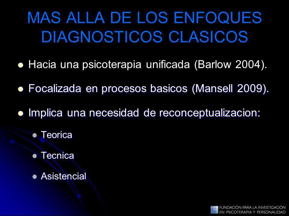 MAS ALLA DE LOS ENFOQUES DIAGNOSTICOS CLASICOS Hacia una psicoterapia unificada (Barlow 2004). Focalizada en procesos basicos (Mansell 2009). Focaliza