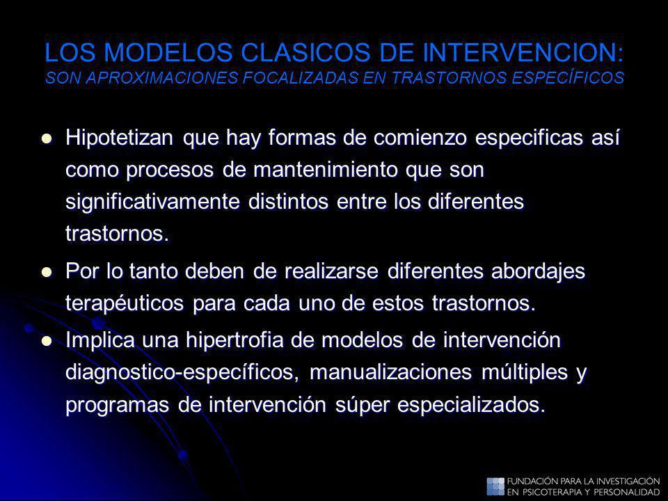 LOS MODELOS CLASICOS DE INTERVENCION: SON APROXIMACIONES FOCALIZADAS EN TRASTORNOS ESPECÍFICOS Hipotetizan que hay formas de comienzo especificas así