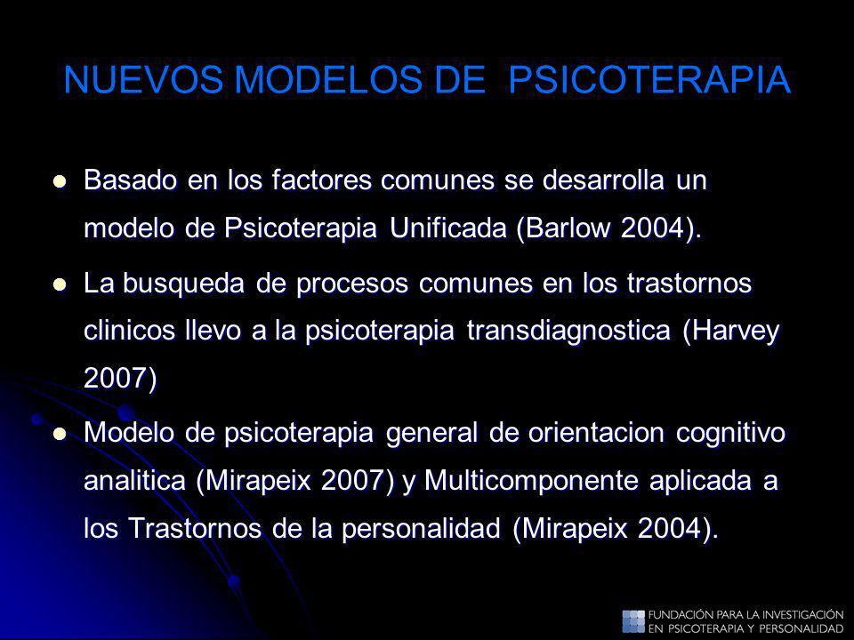 NUEVOS MODELOS DE PSICOTERAPIA Basado en los factores comunes se desarrolla un modelo de Psicoterapia Unificada (Barlow 2004). Basado en los factores