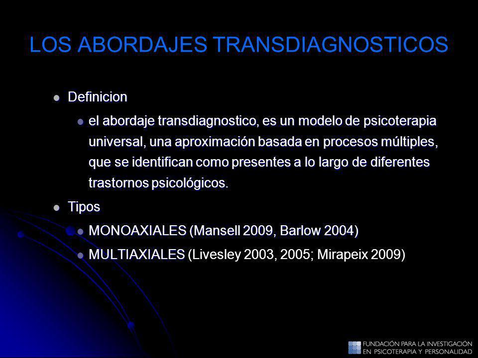 LOS ABORDAJES TRANSDIAGNOSTICOS Definicion Definicion el abordaje transdiagnostico, es un modelo de psicoterapia universal, una aproximación basada en