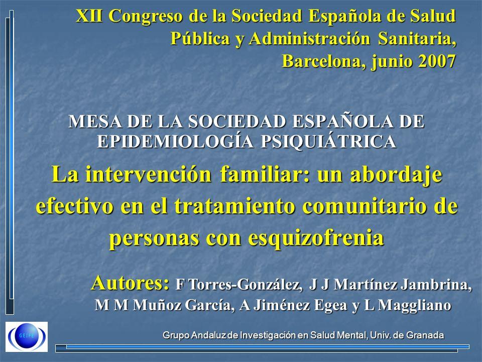 Grupo Andaluz de Investigación en Salud Mental, Univ. de Granada MESA DE LA SOCIEDAD ESPAÑOLA DE EPIDEMIOLOGÍA PSIQUIÁTRICA La intervención familiar: