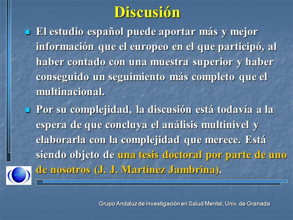Grupo Andaluz de Investigación en Salud Mental, Univ. de GranadaDiscusión El estudio español puede aportar más y mejor información que el europeo en e