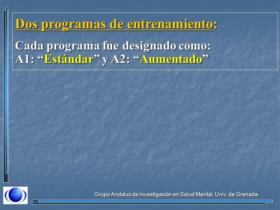 Grupo Andaluz de Investigación en Salud Mental, Univ. de Granada Dos programas de entrenamiento: Cada programa fue designado como: A1: Estándar y A2: