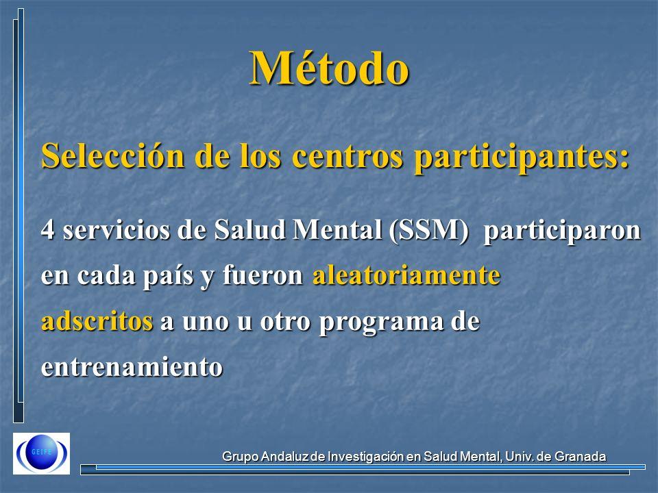 Método Selección de los centros participantes: 4 servicios de Salud Mental (SSM) participaron en cada país y fueron aleatoriamente adscritos a uno u otro programa de entrenamiento