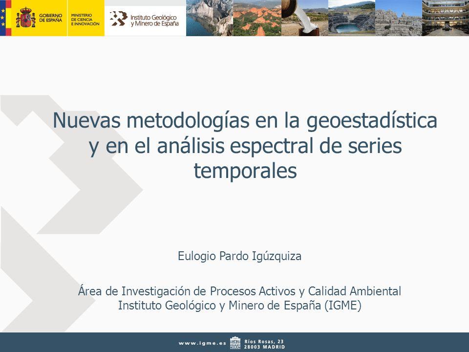 22 3ª Jornada I+D+iGME, Madrid, 26 de marzo de 2010 FUNDAMENTOS DE LA GEOESTADÍSTICA Krigeaje Estimador lineal Insesgado Óptimo (minimiza la varianza de estimación) Exacto Puede incluir información secundaria (cokrigeaje) Proporciona la varianza de estimación 0 5 km N