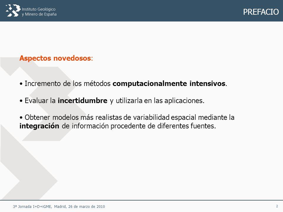 23 3ª Jornada I+D+iGME, Madrid, 26 de marzo de 2010 FUNDAMENTOS DE LA GEOESTADÍSTICA Simulación condicional La simulación condicional genera múltiples versiones posibles de la realidad desconocida consistentes con la información experimental disponible