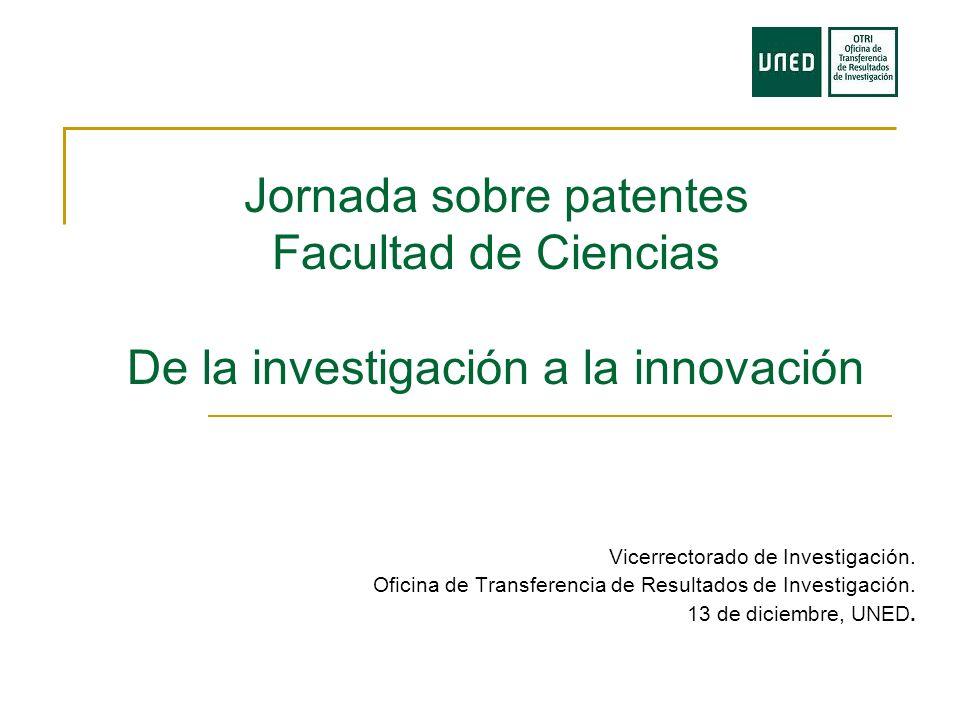 Jornada sobre patentes Facultad de Ciencias De la investigación a la innovación Vicerrectorado de Investigación.
