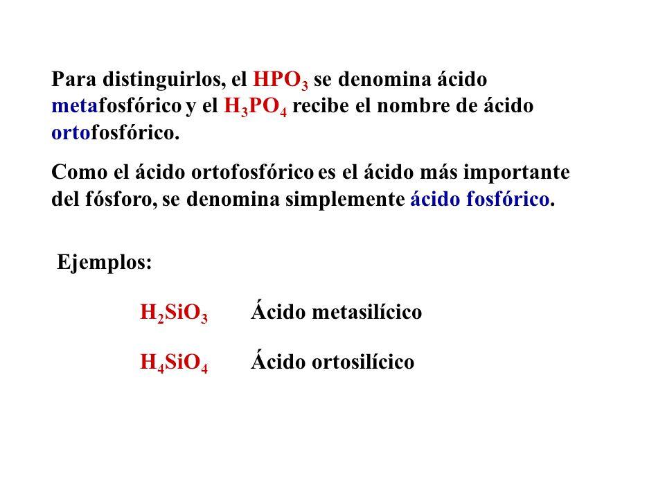 Utilización de los prefijos meta- y orto- Los prefijos meta- y orto- se utilizan para distinguir dos ácidos del mismo elemento con la misma valencia y