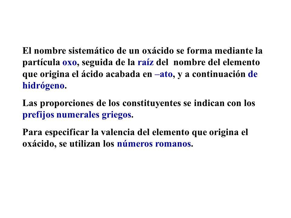Nomenclatura sistemática de los oxácidos La nomenclatura de los oxácidos que acabamos de ver es la que habitualmente se utiliza en química. Esta nomen