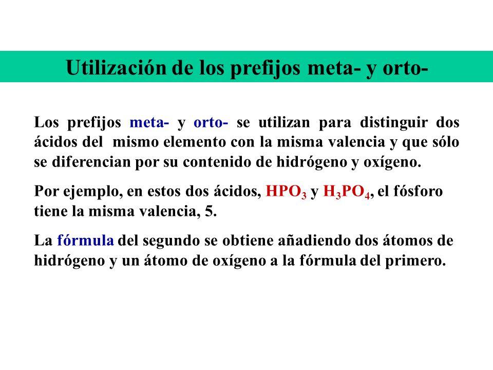 Ejemplos: H 2 SO 4 Tetraoxosulfato (VI) de hidrógeno HNO 3 Trioxonitrato (V) de hidrógeno H 2 CrO 4 Tetraoxocromato (VI) de hidrógeno HClO 2 Dioxoclor