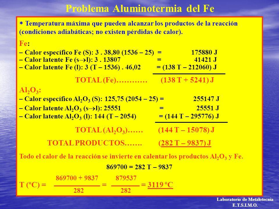 Temperatura máxima que pueden alcanzar los productos de la reacción (condiciones adiabáticas; no existen pérdidas de calor). Fe: – Calor específico Fe