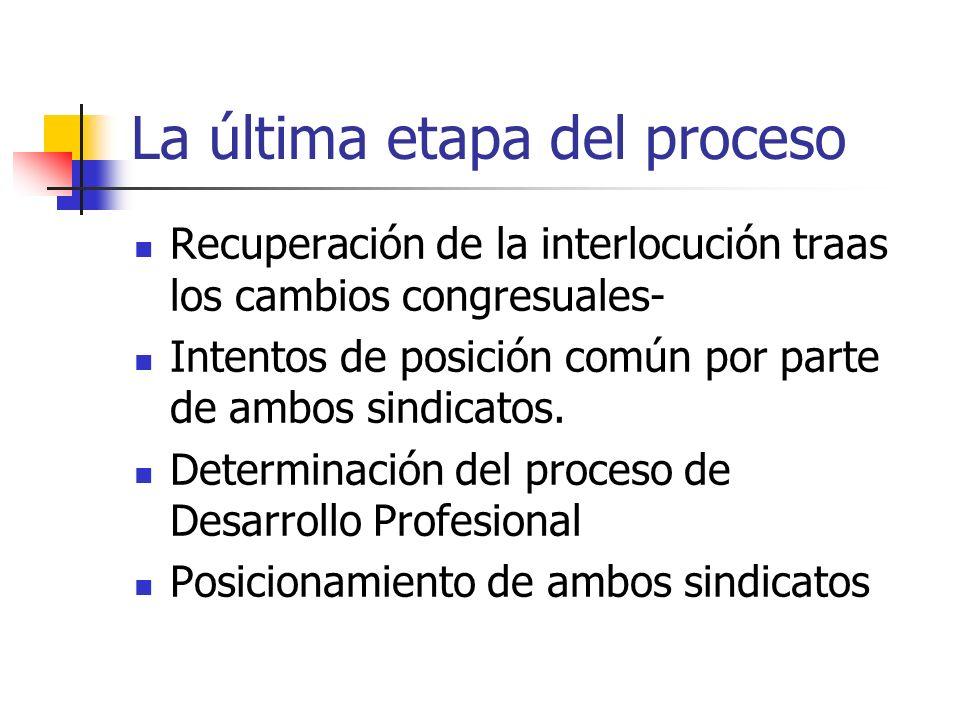 La última etapa del proceso Recuperación de la interlocución traas los cambios congresuales- Intentos de posición común por parte de ambos sindicatos.