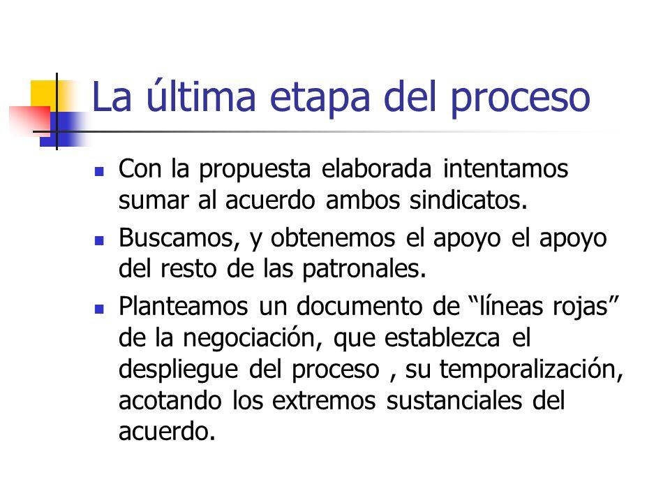 La última etapa del proceso Con la propuesta elaborada intentamos sumar al acuerdo ambos sindicatos.