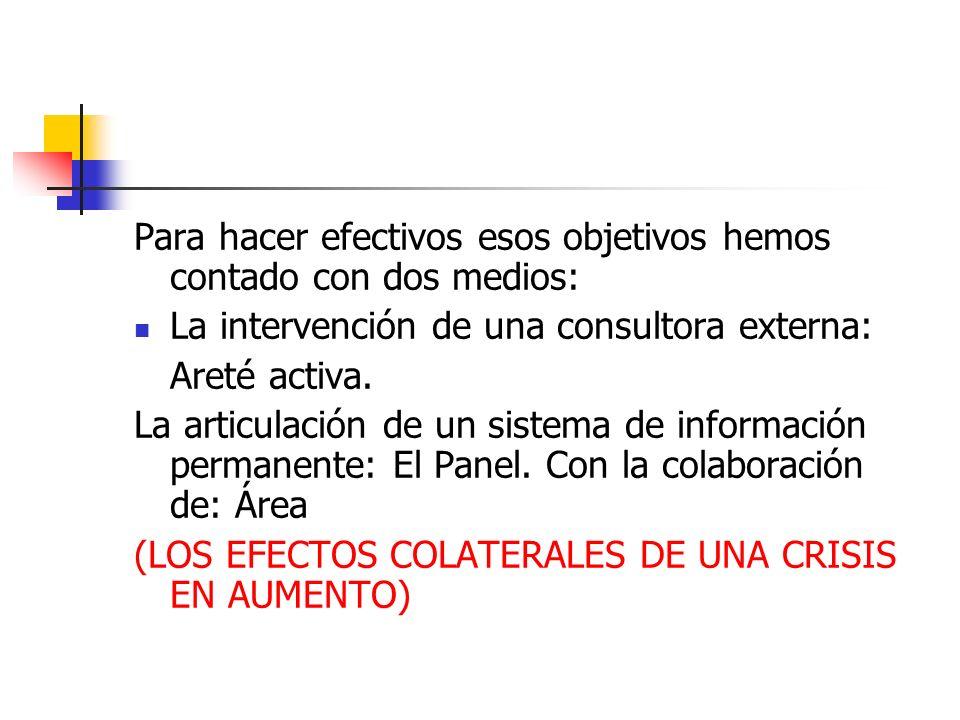 Para hacer efectivos esos objetivos hemos contado con dos medios: La intervención de una consultora externa: Areté activa.