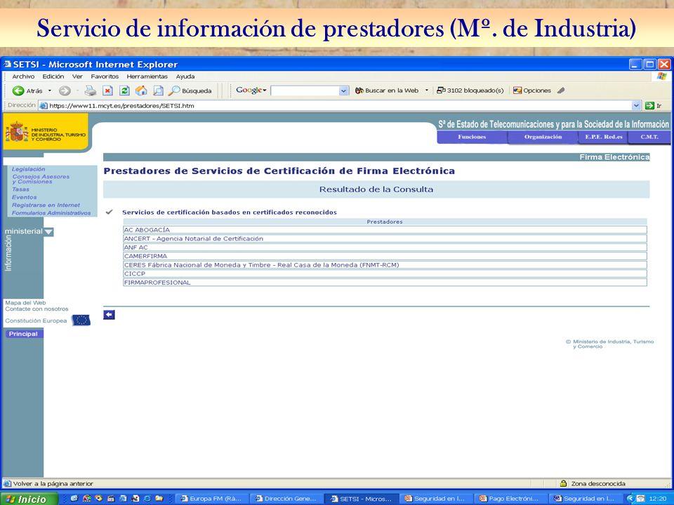 20 Servicio de información de prestadores (Mº. de Industria)