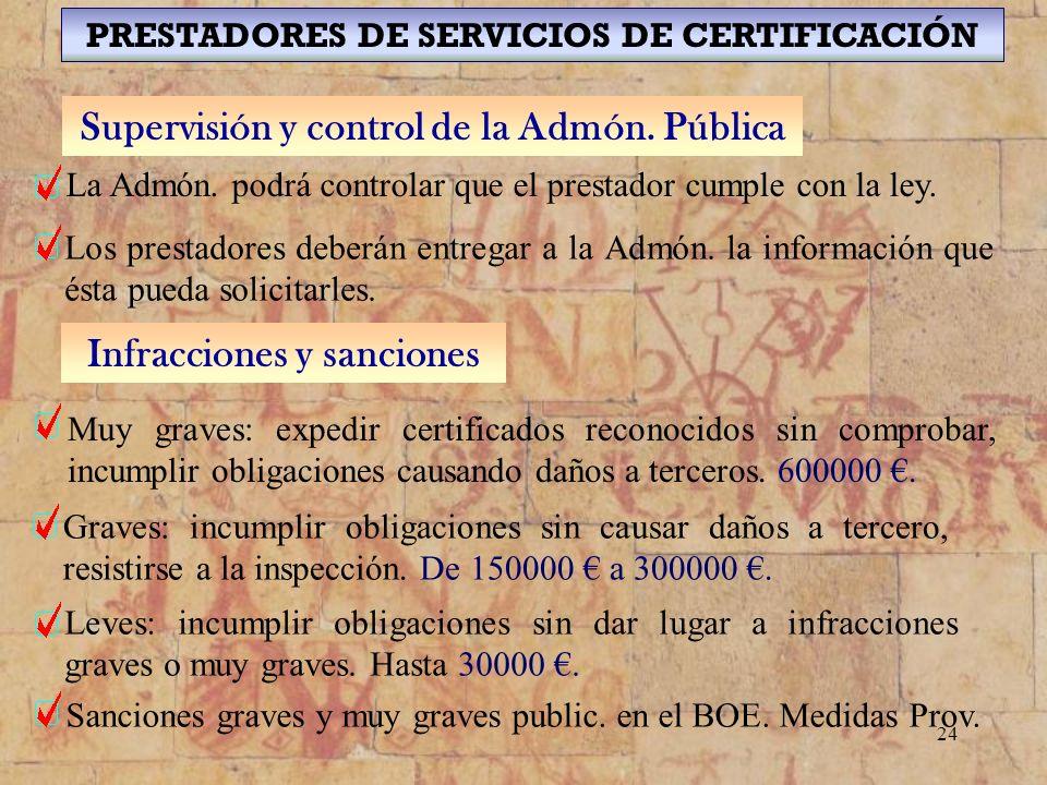 24 PRESTADORES DE SERVICIOS DE CERTIFICACIÓN Supervisión y control de la Admón. Pública La Admón. podrá controlar que el prestador cumple con la ley.