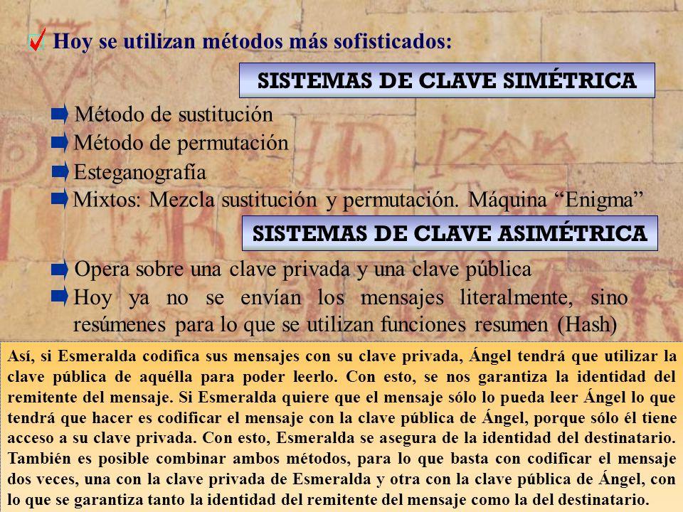 3 Hoy se utilizan métodos más sofisticados: SISTEMAS DE CLAVE SIMÉTRICA Método de sustitución Método de permutación Esteganografía SISTEMAS DE CLAVE A