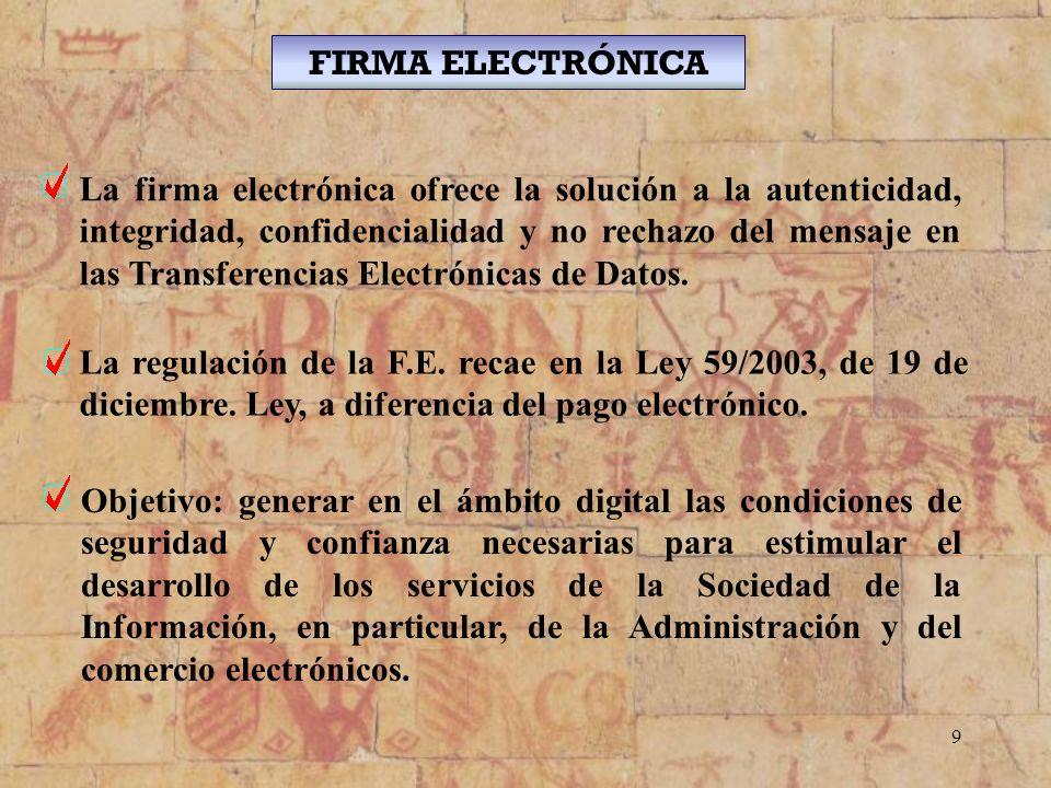 9 La firma electrónica ofrece la solución a la autenticidad, integridad, confidencialidad y no rechazo del mensaje en las Transferencias Electrónicas