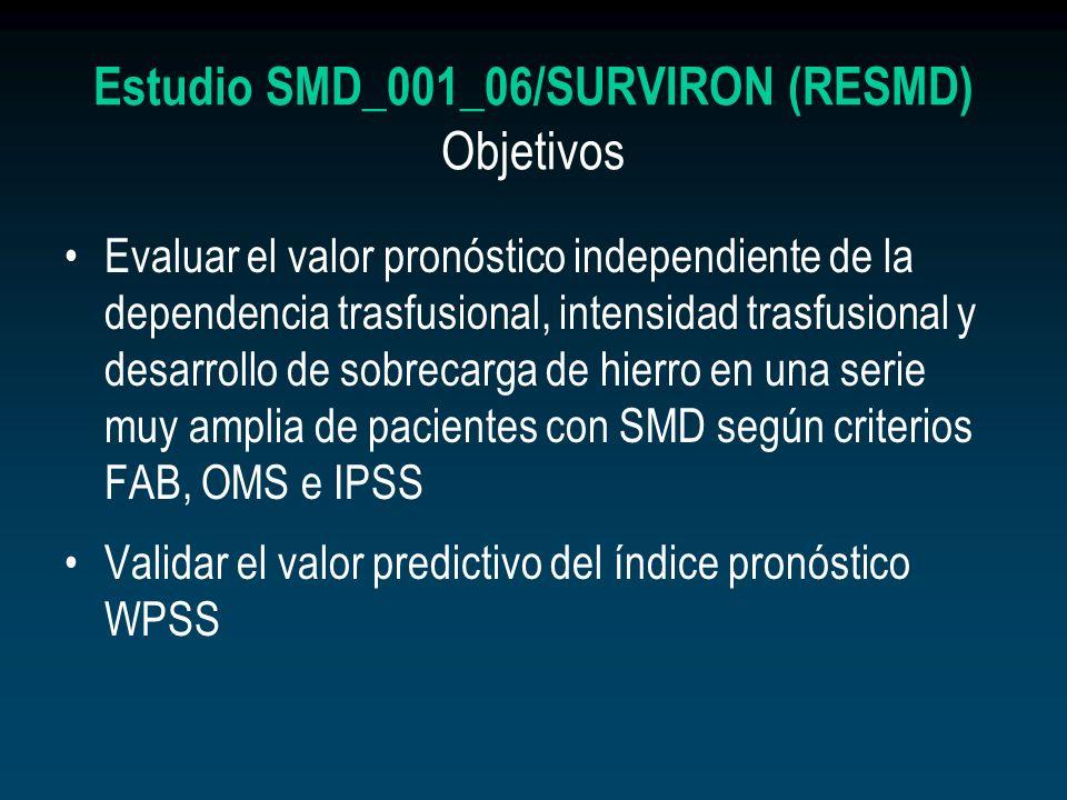 Estudio SMD_001_06/SURVIRON (RESMD) Objetivos Evaluar el valor pronóstico independiente de la dependencia trasfusional, intensidad trasfusional y desa