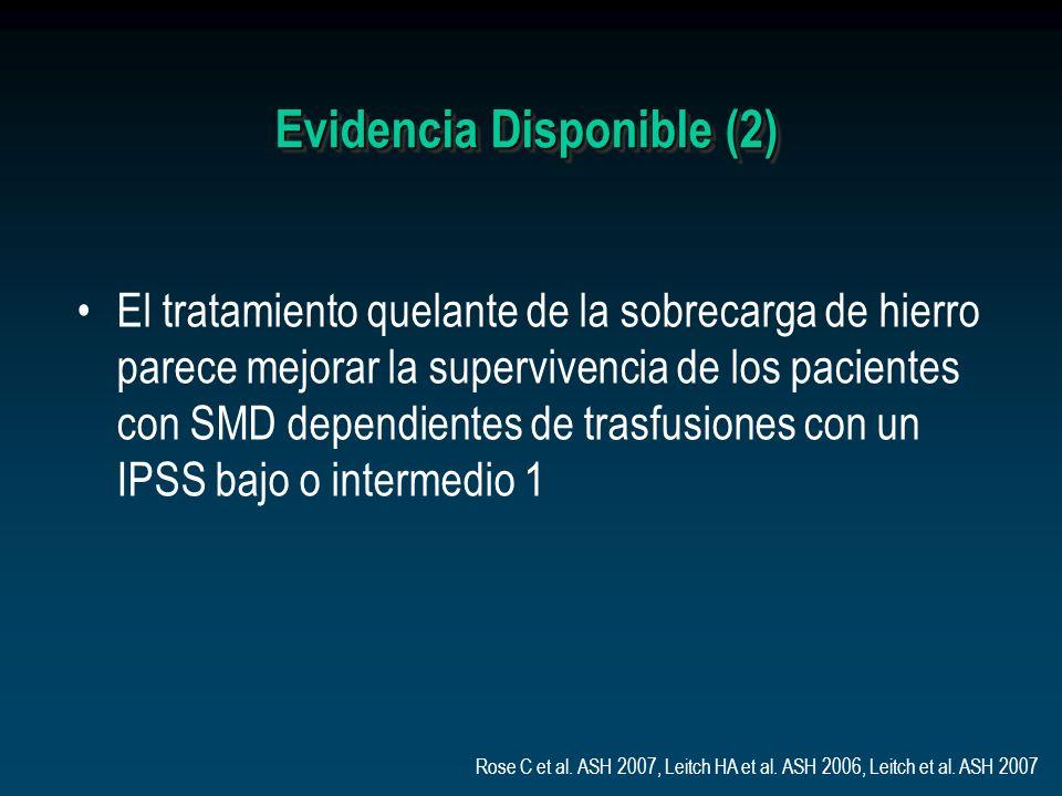 Evidencia Disponible (2) El tratamiento quelante de la sobrecarga de hierro parece mejorar la supervivencia de los pacientes con SMD dependientes de t