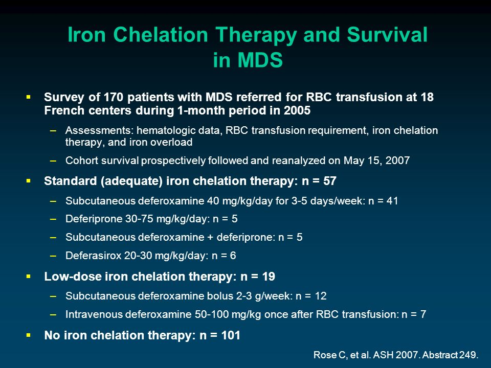 Iron Chelation Therapy and Survival in MDS Survey of 170 patients with MDS referred for RBC transfusion at 18 French centers during 1-month period in