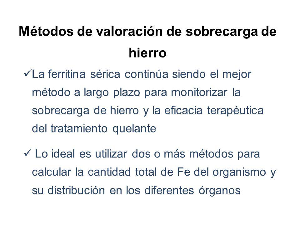 Métodos de valoración de sobrecarga de hierro La ferritina sérica continúa siendo el mejor método a largo plazo para monitorizar la sobrecarga de hier